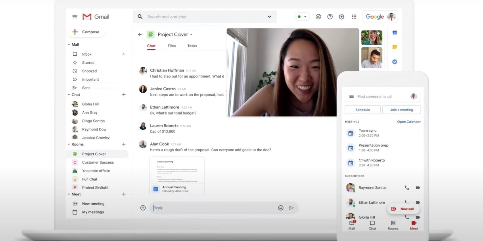 The New Gmail Integrates Google Meet, Chat, and Rooms